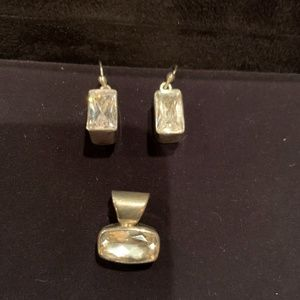 Sparkly earrings & pendant set in sterling